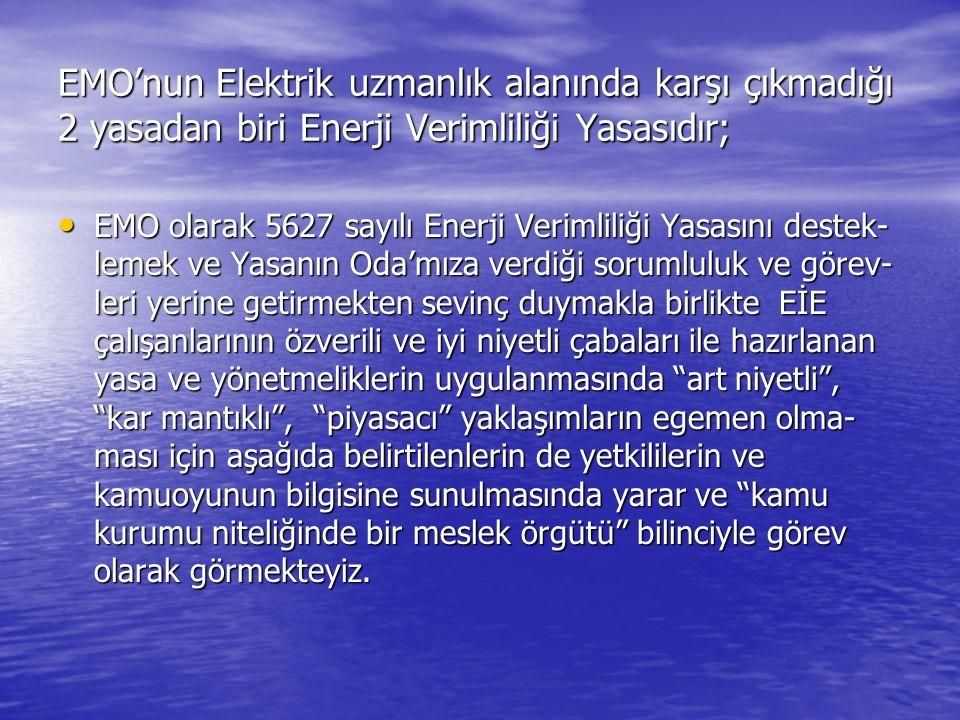 EMO'nun Elektrik uzmanlık alanında karşı çıkmadığı 2 yasadan biri Enerji Verimliliği Yasasıdır; EMO olarak 5627 sayılı Enerji Verimliliği Yasasını des