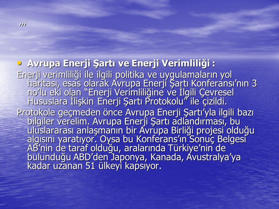 ,,, Avrupa Enerji Şartı ve Enerji Verimliliği : Avrupa Enerji Şartı ve Enerji Verimliliği : Enerji verimliliği ile ilgili politika ve uygulamaların yo