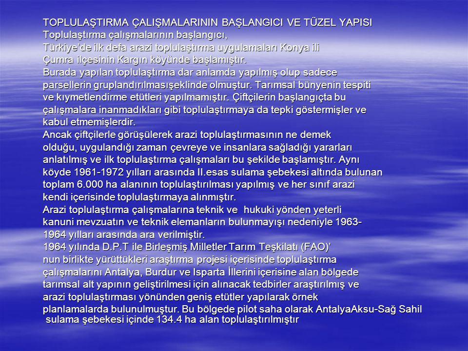Türkiye genelinde Mülga toprak-su,Mülga Köy Hizmetleri Genel Türkiye genelinde Mülga toprak-su,Mülga Köy Hizmetleri Genel Müdürlüğü ve Tarım Reformu Genel Müdürlüğü olarak bugüne kadar Müdürlüğü ve Tarım Reformu Genel Müdürlüğü olarak bugüne kadar toplam 1.115.000 hektar alanın toplulaştırılması tamamlanmıştır.
