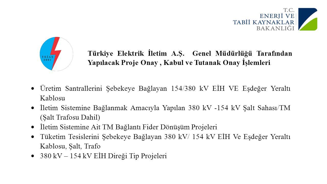 Türkiye Elektrik İletim A.Ş. Genel Müdürlüğü Tarafından Yapılacak Proje Onay, Kabul ve Tutanak Onay İşlemleri  Üretim Santrallerini Şebekeye Bağlayan