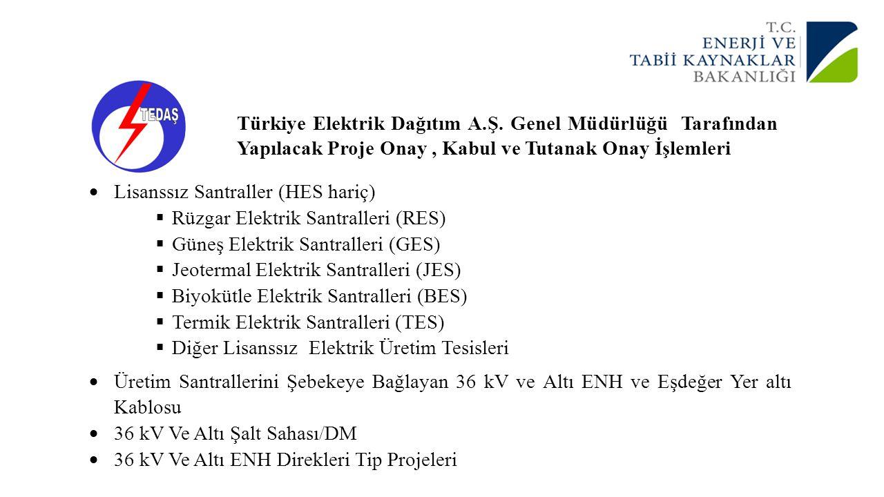Türkiye Elektrik Dağıtım A.Ş. Genel Müdürlüğü Tarafından Yapılacak Proje Onay, Kabul ve Tutanak Onay İşlemleri  Lisanssız Santraller (HES hariç)  Rü