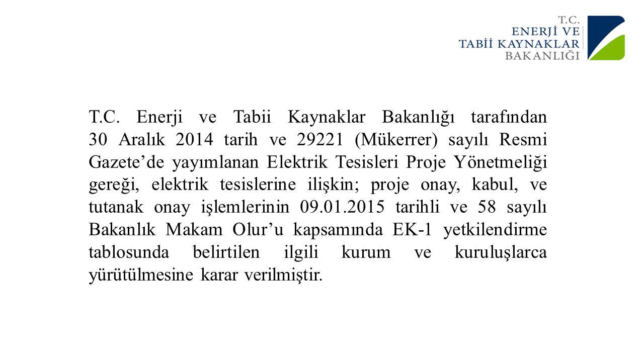 T.C. Enerji ve Tabii Kaynaklar Bakanlığı tarafından 30 Aralık 2014 tarih ve 29221 (Mükerrer) sayılı Resmi Gazete'de yayımlanan Elektrik Tesisleri Proj