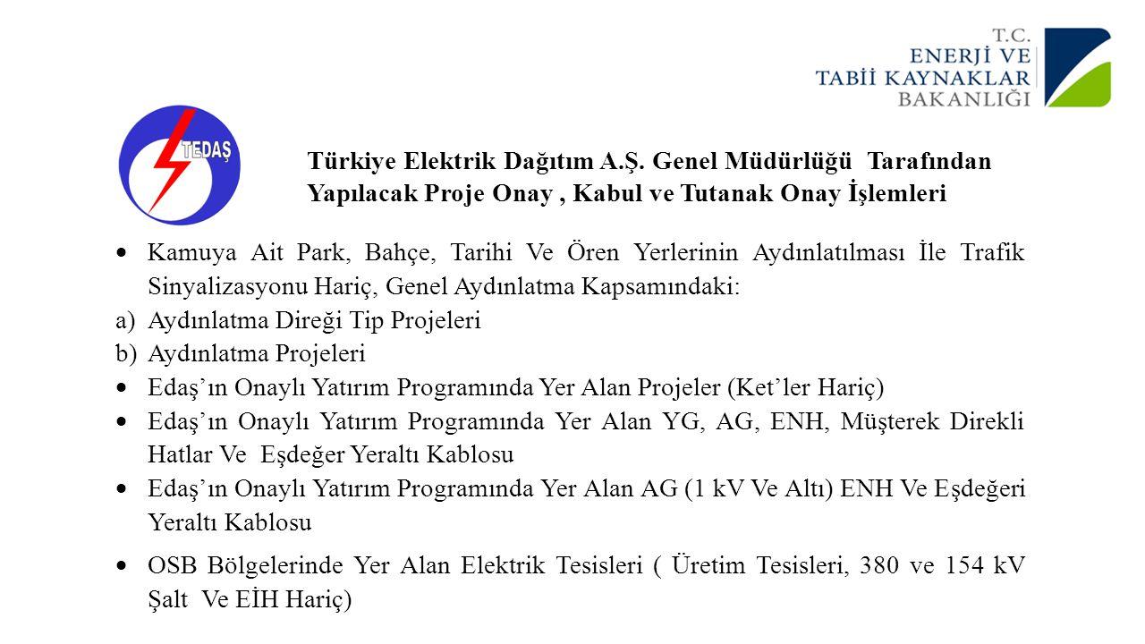 Türkiye Elektrik Dağıtım A.Ş. Genel Müdürlüğü Tarafından Yapılacak Proje Onay, Kabul ve Tutanak Onay İşlemleri  Kamuya Ait Park, Bahçe, Tarihi Ve Öre