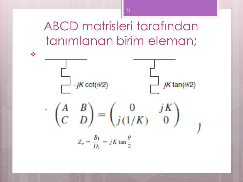 ABCD matrisleri tarafından tanımlanan birim eleman;  θ=Π/2 özel durumu için matris yeniden indirgenmiş olarak şu şekilde yazılır; 22