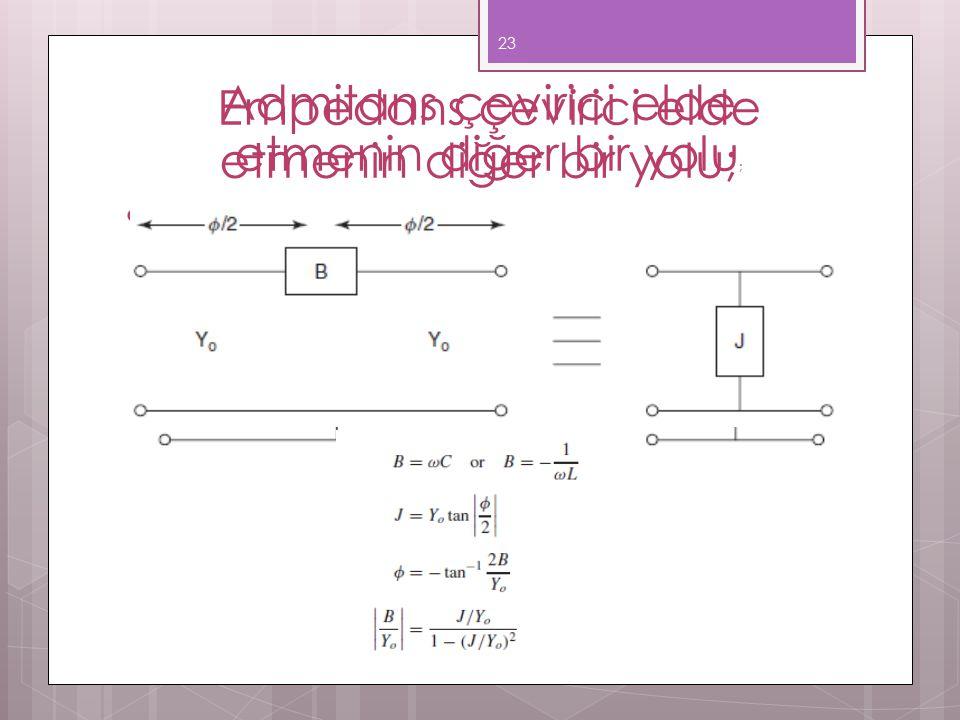 Admitans çevirici elde etmenin diğer bir yolu; 23 Empedans çevirici elde etmenin diğer bir yolu ;