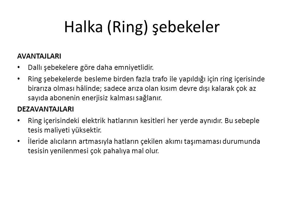 Halka (Ring) şebekeler AVANTAJLARI Dallı şebekelere göre daha emniyetlidir. Ring şebekelerde besleme birden fazla trafo ile yapıldığı için ring içeris