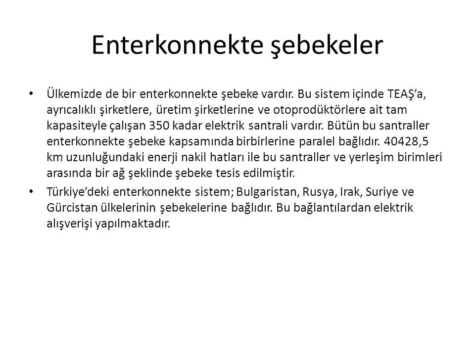 Enterkonnekte şebekeler Ülkemizde de bir enterkonnekte şebeke vardır. Bu sistem içinde TEAŞ'a, ayrıcalıklı şirketlere, üretim şirketlerine ve otoprodü