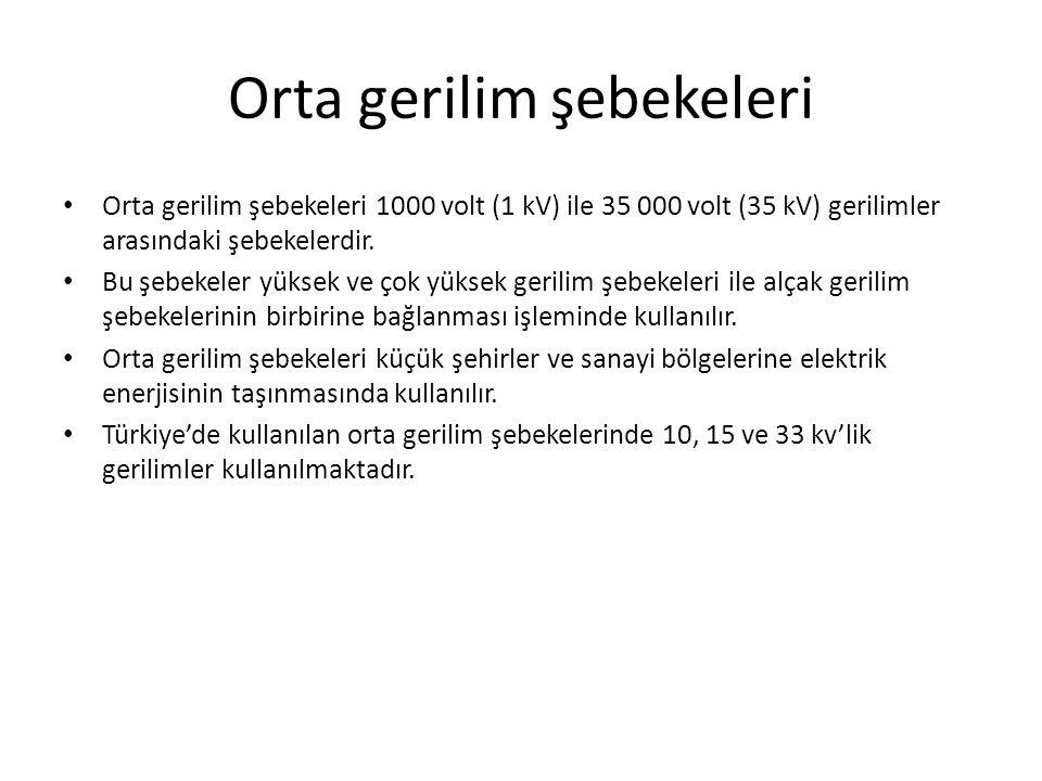 Orta gerilim şebekeleri Orta gerilim şebekeleri 1000 volt (1 kV) ile 35 000 volt (35 kV) gerilimler arasındaki şebekelerdir.