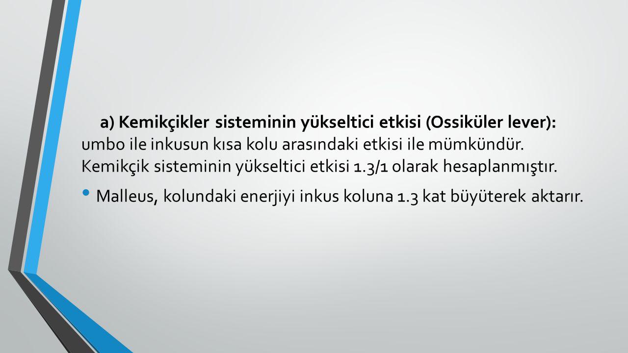 a) Kemikçikler sisteminin yükseltici etkisi (Ossiküler lever): umbo ile inkusun kısa kolu arasındaki etkisi ile mümkündür. Kemikçik sisteminin yükselt