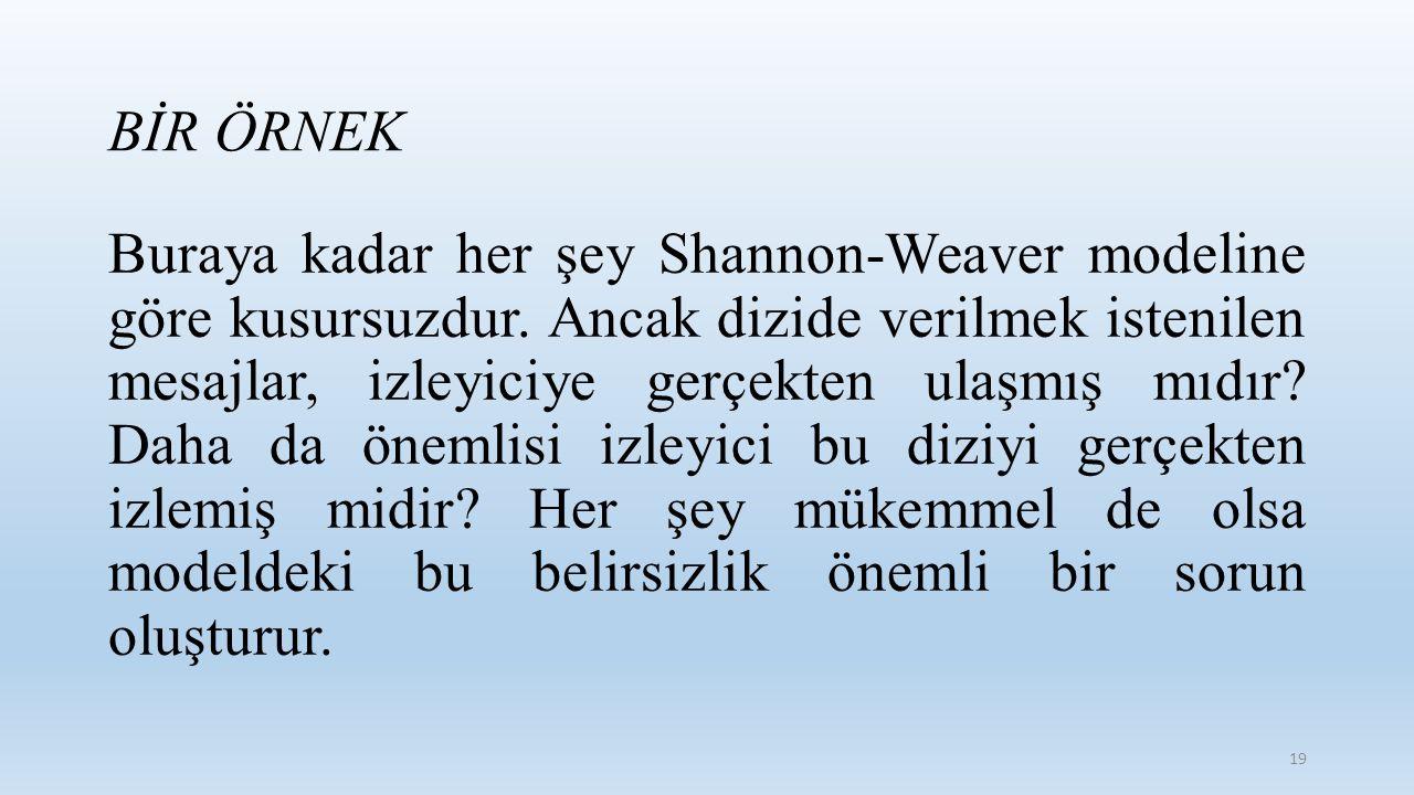 Buraya kadar her şey Shannon-Weaver modeline göre kusursuzdur. Ancak dizide verilmek istenilen mesajlar, izleyiciye gerçekten ulaşmış mıdır? Daha da ö