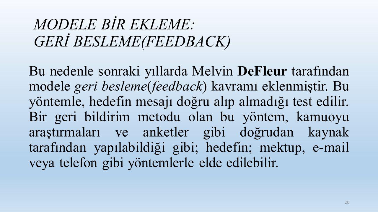 Bu nedenle sonraki yıllarda Melvin DeFleur tarafından modele geri besleme(feedback) kavramı eklenmiştir. Bu yöntemle, hedefin mesajı doğru alıp almadı