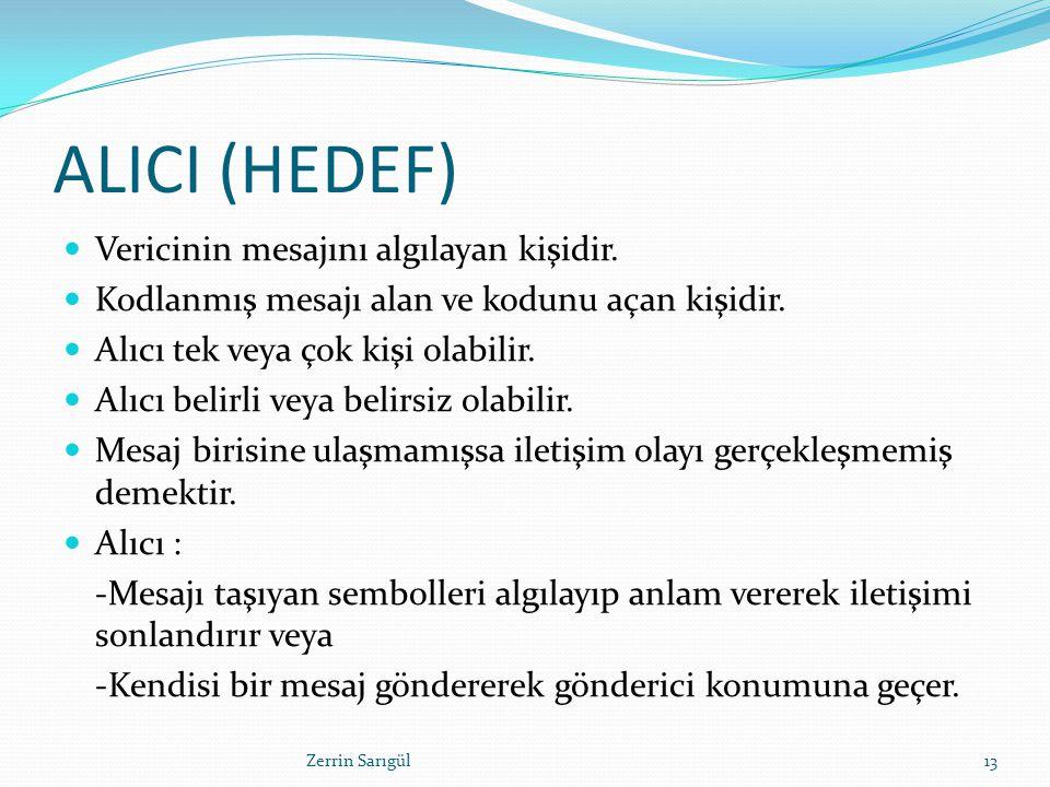 ALICI (HEDEF) Vericinin mesajını algılayan kişidir. Kodlanmış mesajı alan ve kodunu açan kişidir. Alıcı tek veya çok kişi olabilir. Alıcı belirli veya
