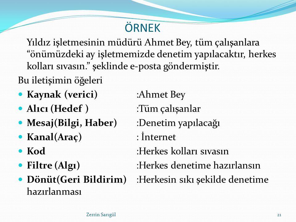 """ÖRNEK Yıldız işletmesinin müdürü Ahmet Bey, tüm çalışanlara """"önümüzdeki ay işletmemizde denetim yapılacaktır, herkes kolları sıvasın."""" şeklinde e-post"""