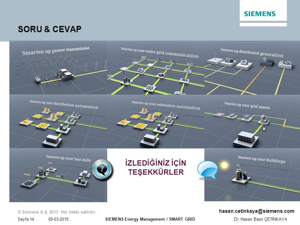 09-03-2015 © Siemens A.Ş. 2015 Her hakkı saklıdır. Sayfa 14Dr. Hasan Basri ÇETİNKAYA SIEMENS Energy Management / SMART GRID hasan.cetinkaya@siemens.co