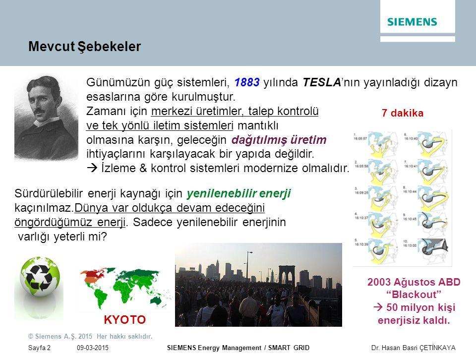 09-03-2015 © Siemens A.Ş. 2015 Her hakkı saklıdır. Sayfa 2Dr. Hasan Basri ÇETİNKAYA SIEMENS Energy Management / SMART GRID Günümüzün güç sistemleri, 1