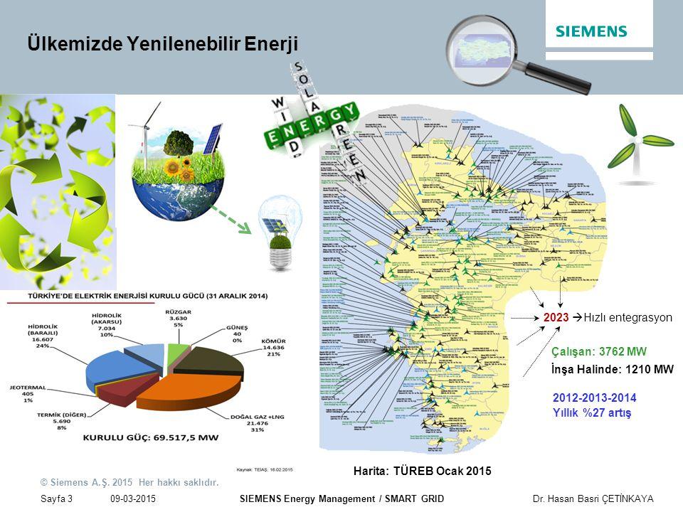 09-03-2015 © Siemens A.Ş. 2015 Her hakkı saklıdır. Sayfa 3Dr. Hasan Basri ÇETİNKAYA SIEMENS Energy Management / SMART GRID Ülkemizde Yenilenebilir Ene