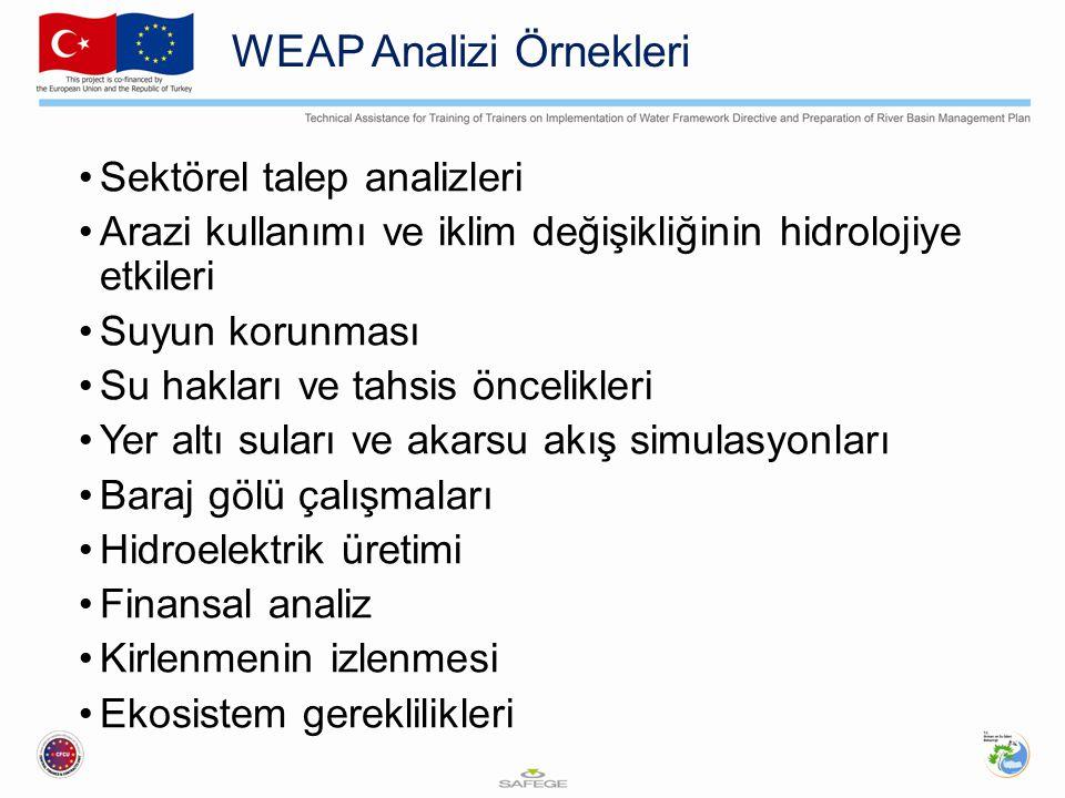 WEAP Analizi Örnekleri Sektörel talep analizleri Arazi kullanımı ve iklim değişikliğinin hidrolojiye etkileri Suyun korunması Su hakları ve tahsis önc