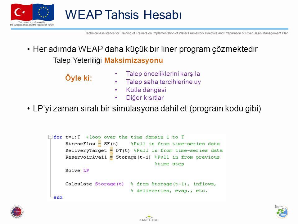 WEAP Tahsis Hesabı Her adımda WEAP daha küçük bir liner program çözmektedir Talep Yeterliliği Maksimizasyonu Talep önceliklerini karşıla Talep saha te
