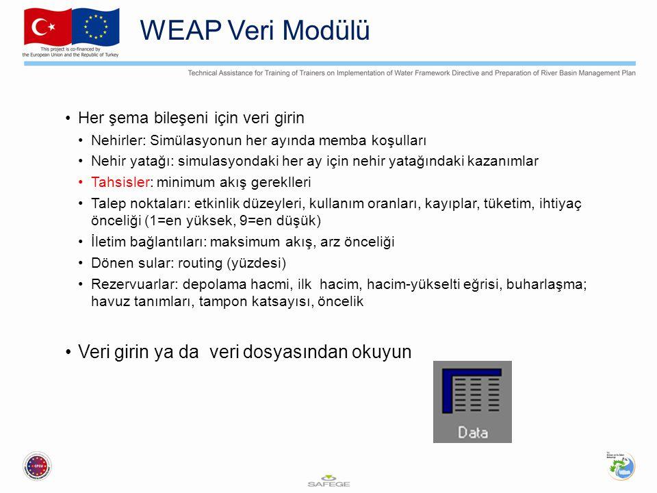 WEAP Veri Modülü Her şema bileşeni için veri girin Nehirler: Simülasyonun her ayında memba koşulları Nehir yatağı: simulasyondaki her ay için nehir ya