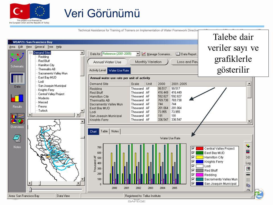 Veri Görünümü Talebe dair veriler sayı ve grafiklerle gösterilir