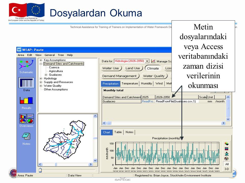 Dosyalardan Okuma Metin dosyalarındaki veya Access veritabanındaki zaman dizisi verilerinin okunması