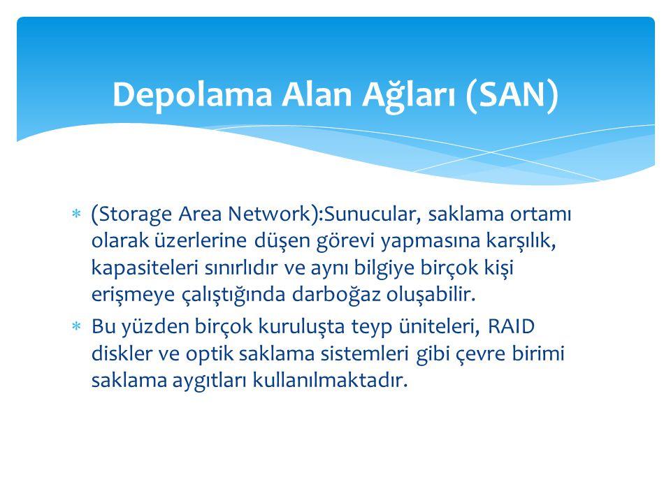  (Storage Area Network):Sunucular, saklama ortamı olarak üzerlerine düşen görevi yapmasına karşılık, kapasiteleri sınırlıdır ve aynı bilgiye birçok kişi erişmeye çalıştığında darboğaz oluşabilir.