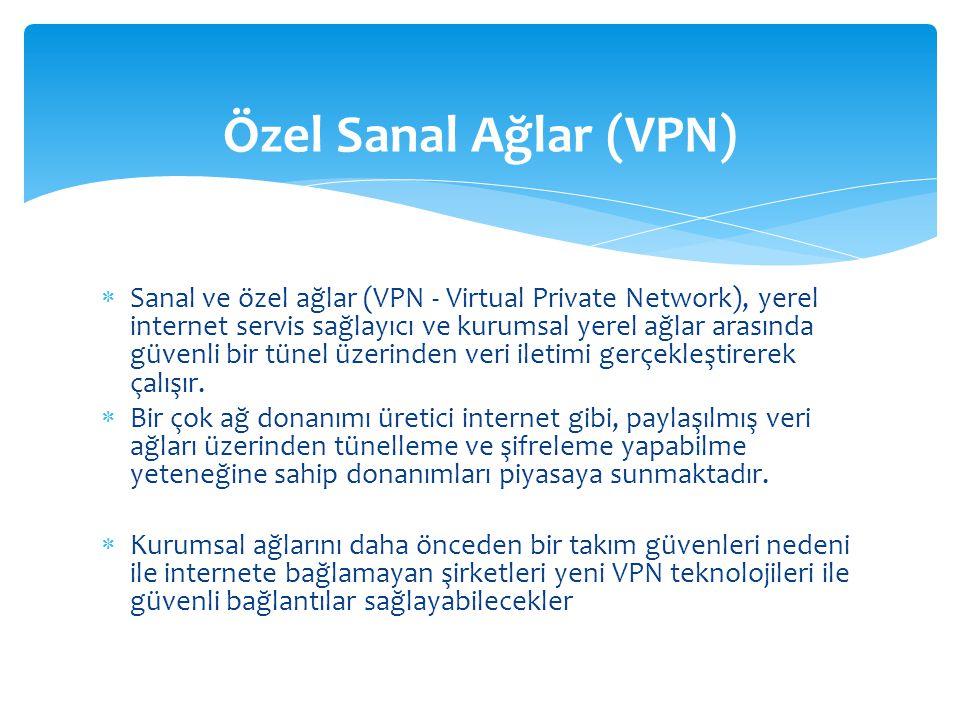  Sanal ve özel ağlar (VPN - Virtual Private Network), yerel internet servis sağlayıcı ve kurumsal yerel ağlar arasında güvenli bir tünel üzerinden veri iletimi gerçekleştirerek çalışır.