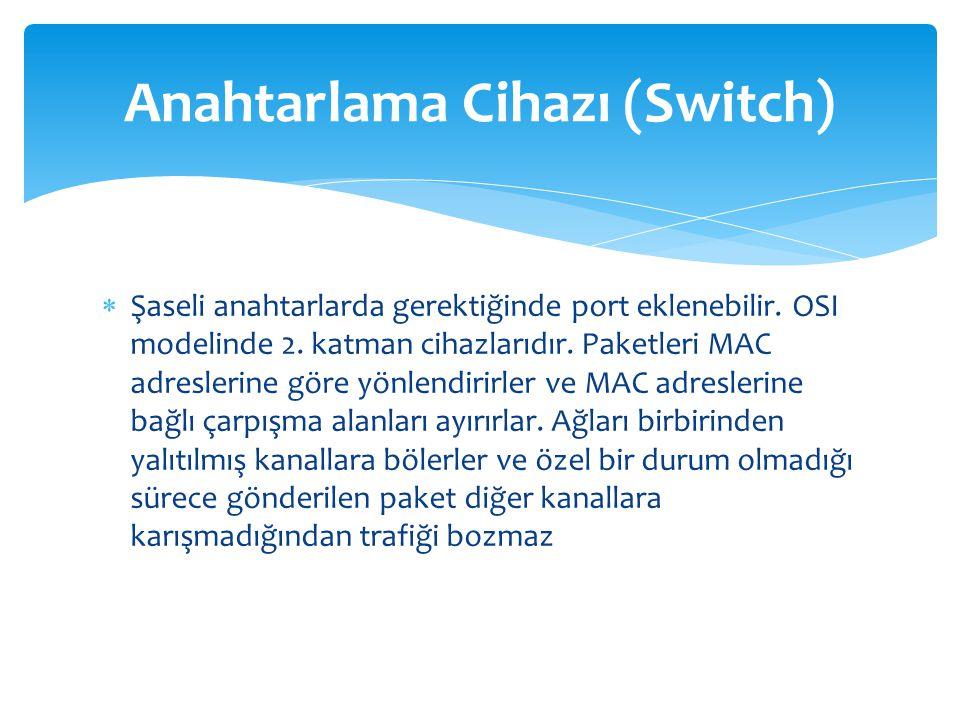  Şaseli anahtarlarda gerektiğinde port eklenebilir. OSI modelinde 2. katman cihazlarıdır. Paketleri MAC adreslerine göre yönlendirirler ve MAC adresl