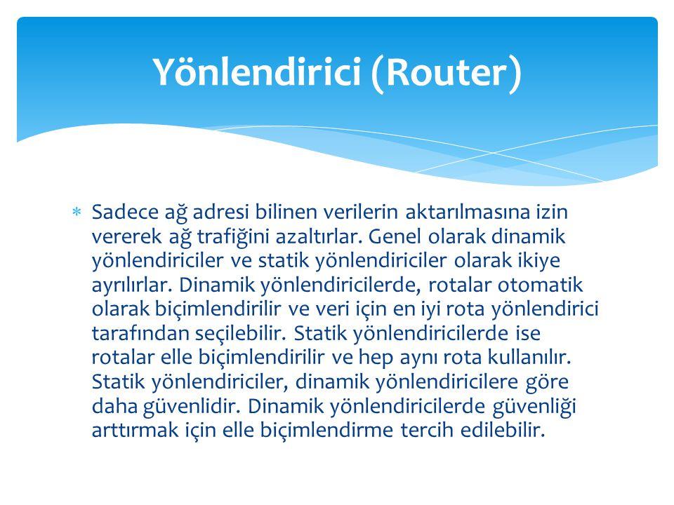  Sadece ağ adresi bilinen verilerin aktarılmasına izin vererek ağ trafiğini azaltırlar. Genel olarak dinamik yönlendiriciler ve statik yönlendiricile