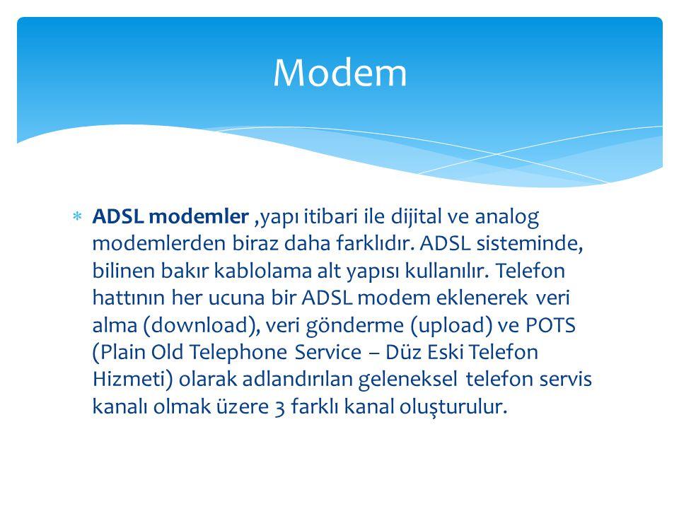  ADSL modemler,yapı itibari ile dijital ve analog modemlerden biraz daha farklıdır. ADSL sisteminde, bilinen bakır kablolama alt yapısı kullanılır. T