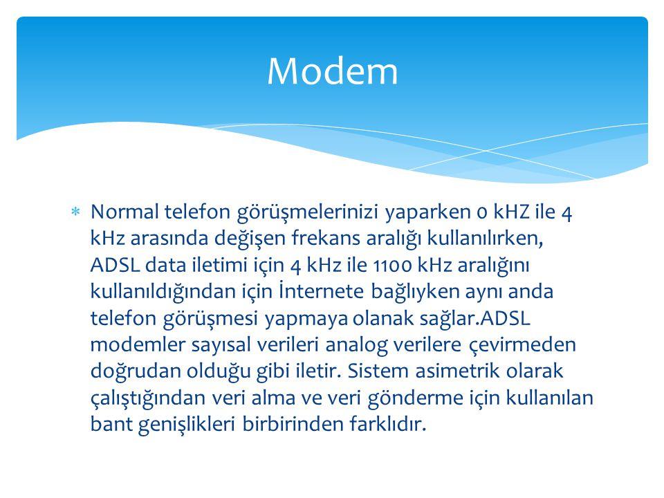  Normal telefon görüşmelerinizi yaparken 0 kHZ ile 4 kHz arasında değişen frekans aralığı kullanılırken, ADSL data iletimi için 4 kHz ile 1100 kHz aralığını kullanıldığından için İnternete bağlıyken aynı anda telefon görüşmesi yapmaya olanak sağlar.ADSL modemler sayısal verileri analog verilere çevirmeden doğrudan olduğu gibi iletir.