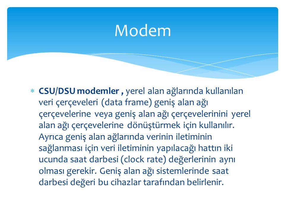  CSU/DSU modemler, yerel alan ağlarında kullanılan veri çerçeveleri (data frame) geniş alan ağı çerçevelerine veya geniş alan ağı çerçevelerinini yer