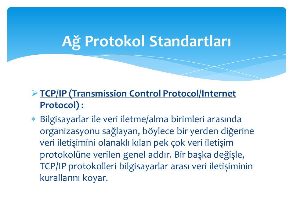  TCP/IP (Transmission Control Protocol/Internet Protocol) :  Bilgisayarlar ile veri iletme/alma birimleri arasında organizasyonu sağlayan, böylece bir yerden diğerine veri iletişimini olanaklı kılan pek çok veri iletişim protokolüne verilen genel addır.