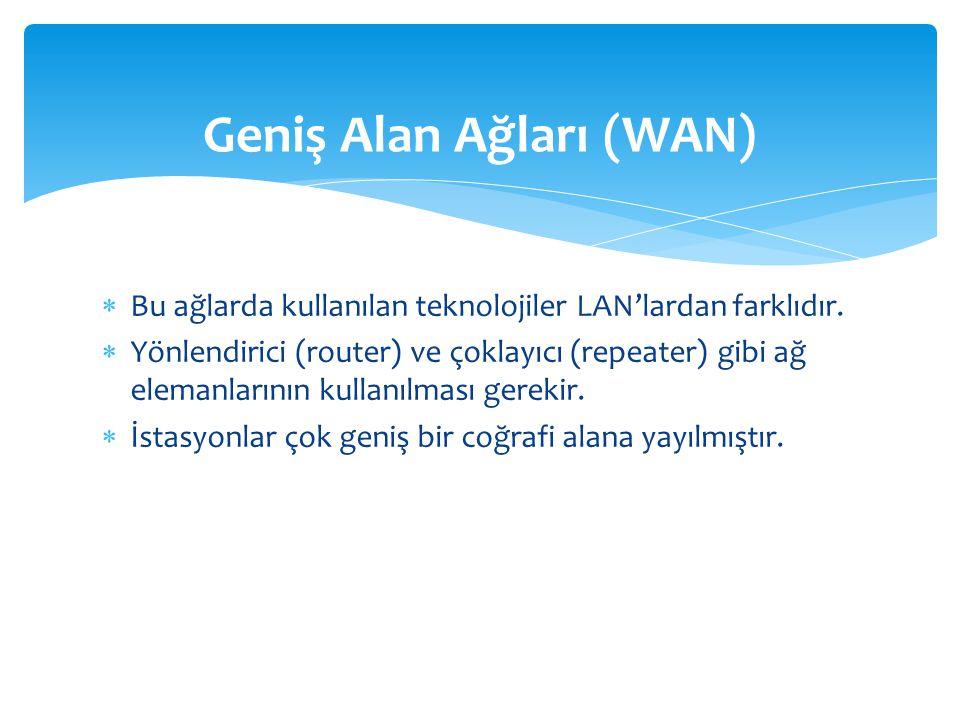  Bu ağlarda kullanılan teknolojiler LAN'lardan farklıdır.