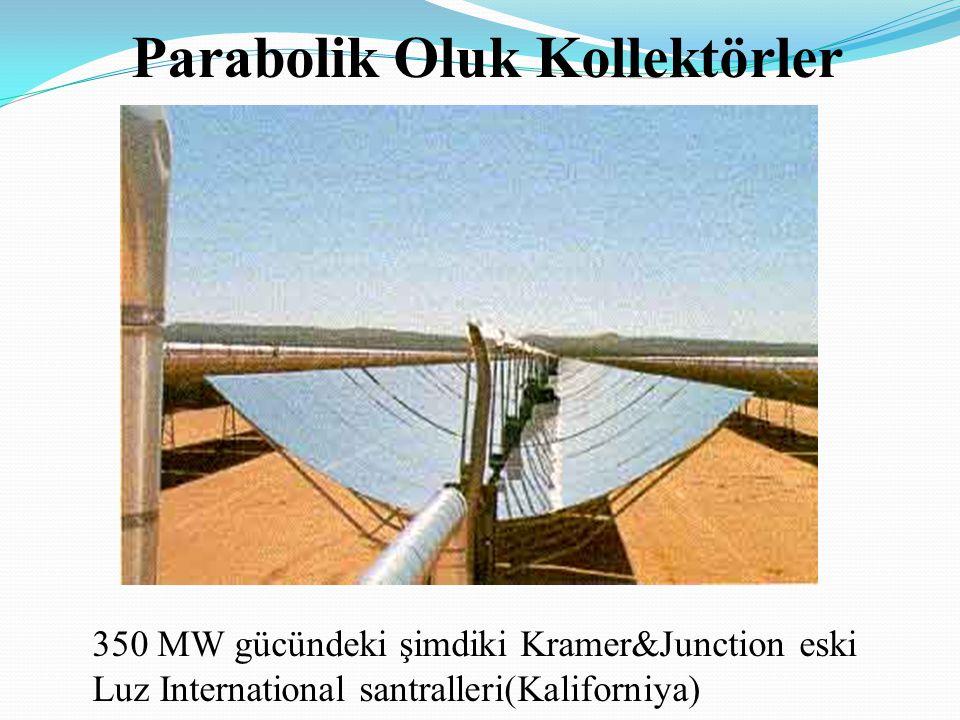 Parabolik Oluk Kollektörler 350 MW gücündeki şimdiki Kramer&Junction eski Luz International santralleri(Kaliforniya)