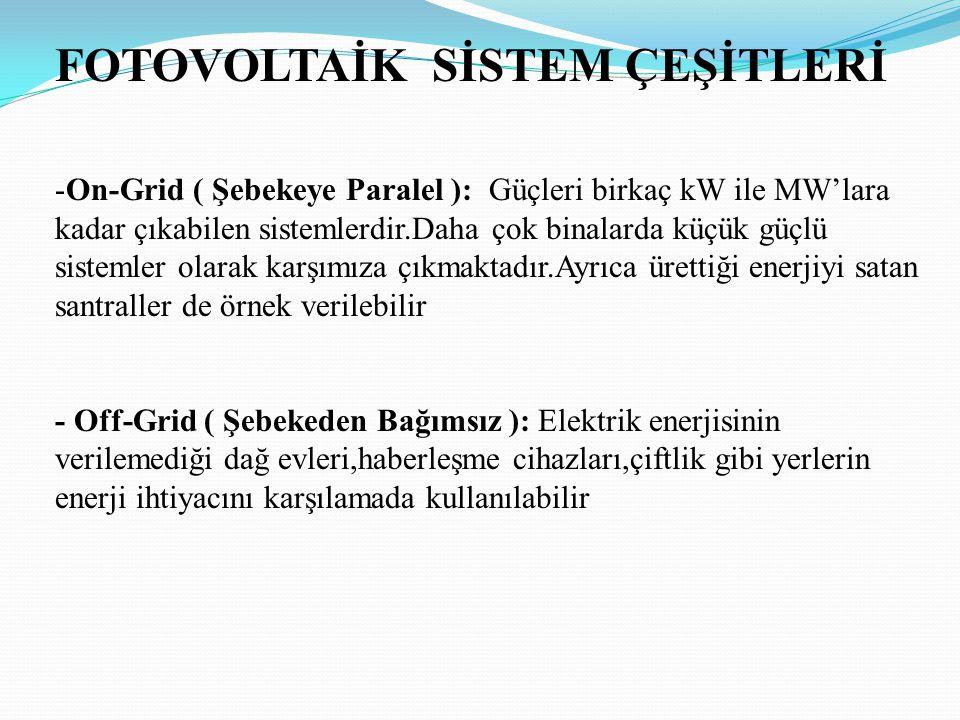FOTOVOLTAİK SİSTEM ÇEŞİTLERİ -On-Grid ( Şebekeye Paralel ): Güçleri birkaç kW ile MW'lara kadar çıkabilen sistemlerdir.Daha çok binalarda küçük güçlü