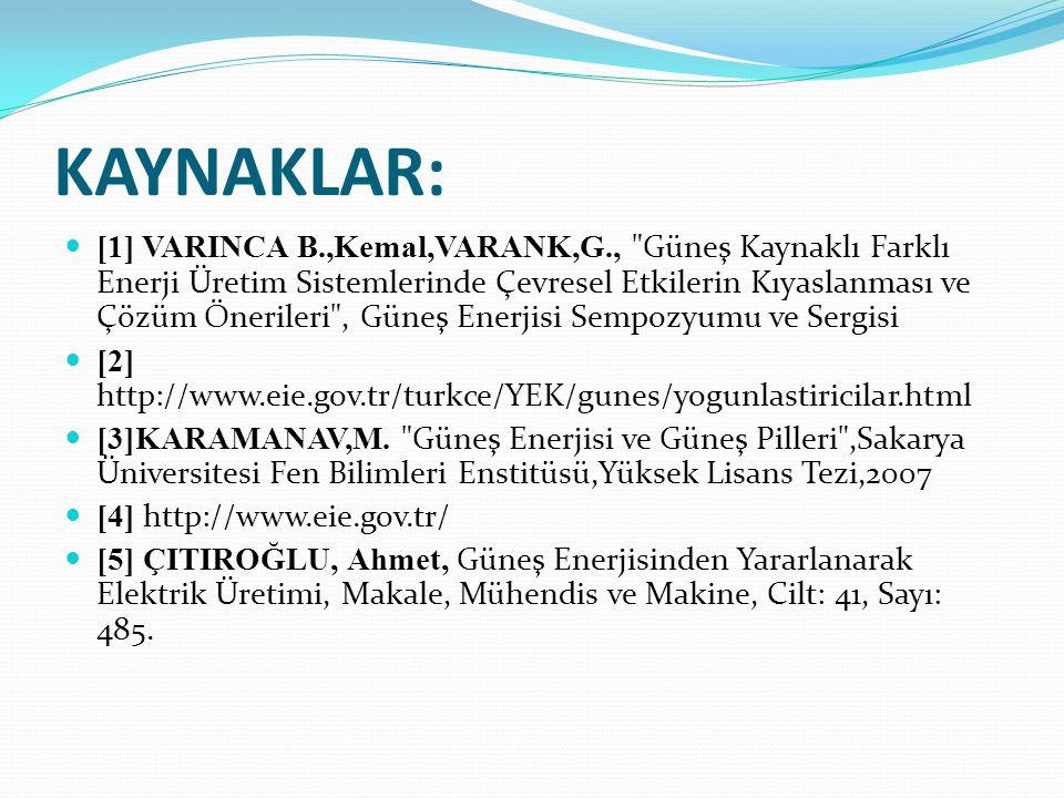 KAYNAKLAR: [1] VARINCA B.,Kemal,VARANK,G.,
