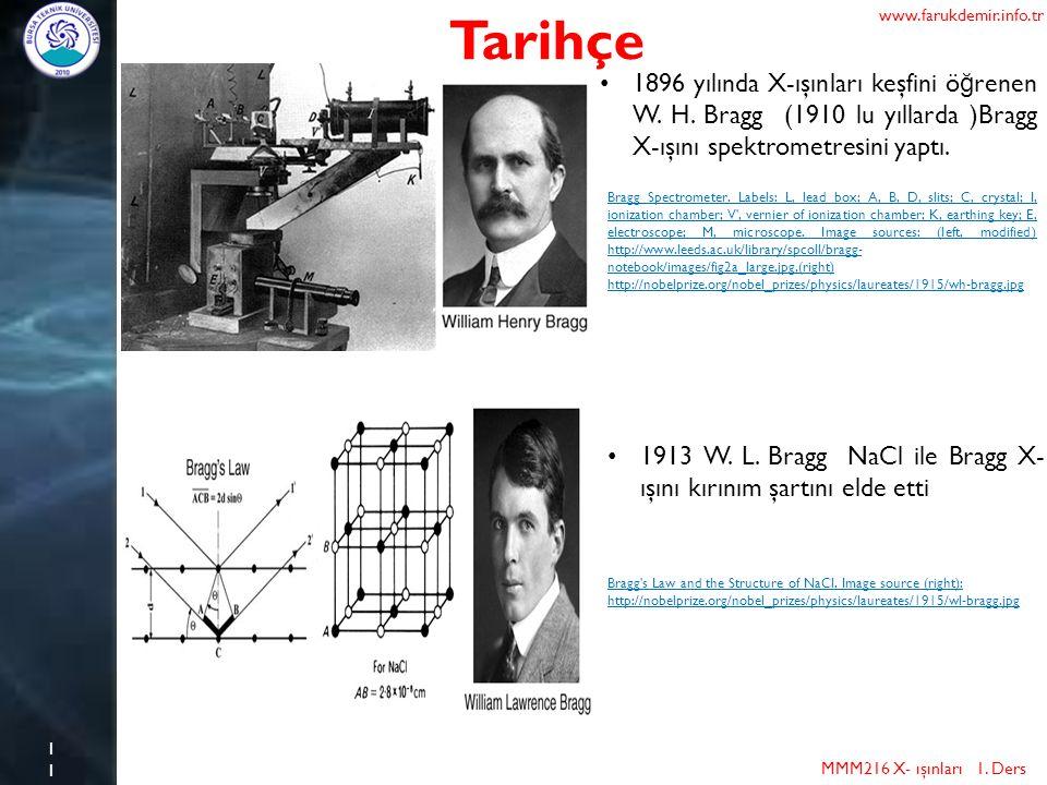 11 Tarihçe MMM216 X- ışınları 1. Ders www.farukdemir.info.tr 1896 yılında X-ışınları keşfini ö ğ renen W. H. Bragg (1910 lu yıllarda )Bragg X-ışını sp