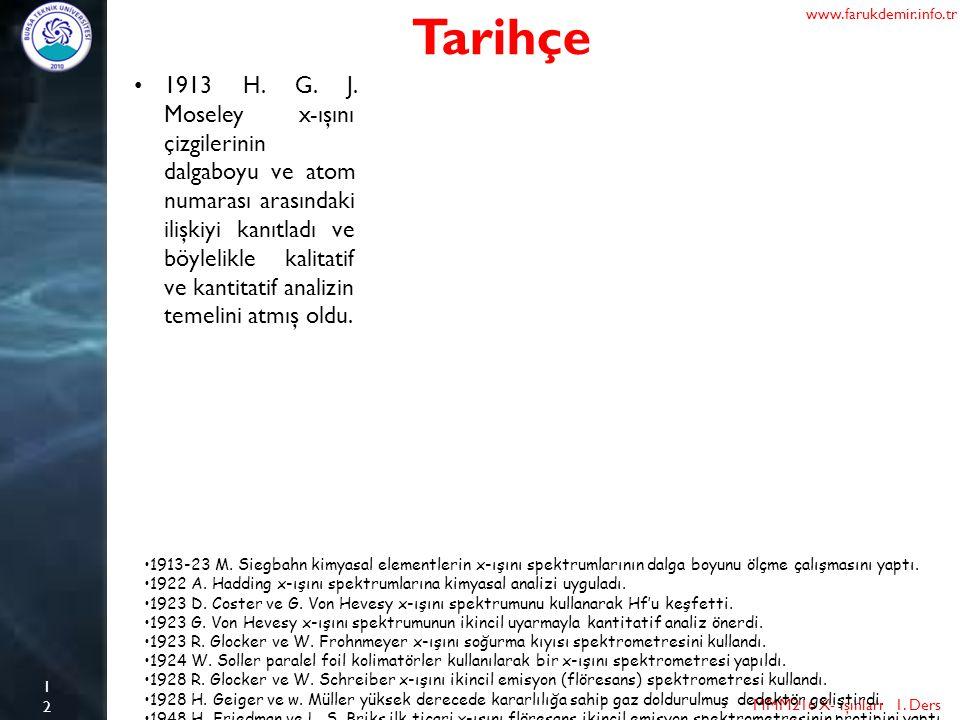 12 Tarihçe MMM216 X- ışınları 1. Ders www.farukdemir.info.tr 1913-23 M. Siegbahn kimyasal elementlerin x-ışını spektrumlarının dalga boyunu ölçme çalı
