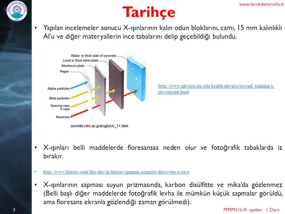 MMM216 X- ışınları 1. Ders 3 Tarihçe Yapılan incelemeler sonucu X-ışınlarının kalın odun bloklarını, camı, 15 mm kalınlıklı Al'u ve di ğ er materyalle