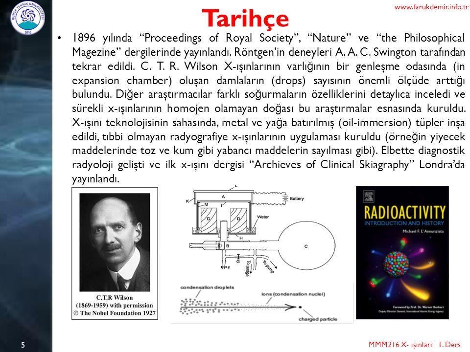 """5 Tarihçe MMM216 X- ışınları 1. Ders www.farukdemir.info.tr 1896 yılında """"Proceedings of Royal Society"""", """"Nature"""" ve """"the Philosophical Magezine"""" derg"""