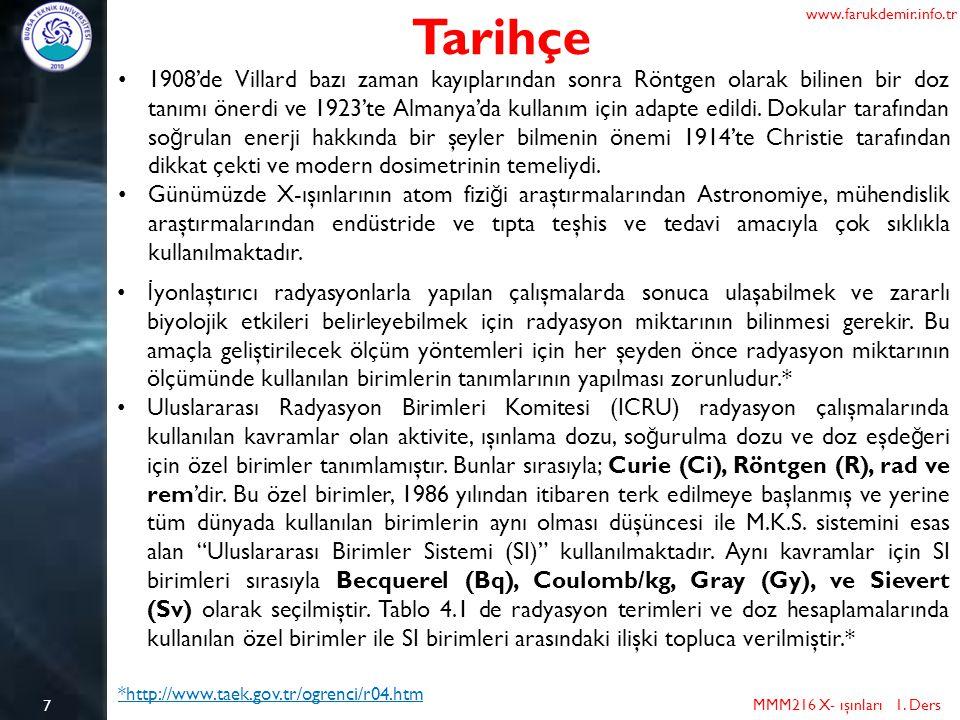 7 Tarihçe MMM216 X- ışınları 1. Ders www.farukdemir.info.tr 1908'de Villard bazı zaman kayıplarından sonra Röntgen olarak bilinen bir doz tanımı önerd