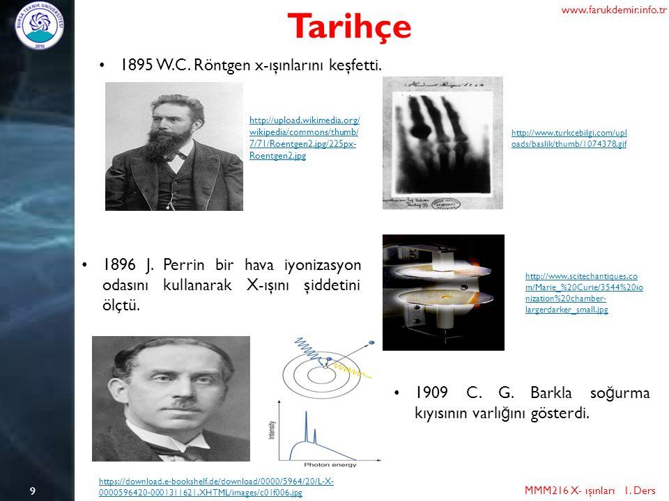 9 Tarihçe MMM216 X- ışınları 1.Ders www.farukdemir.info.tr 1895 W.C.