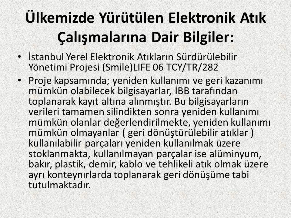 Ülkemizde Yürütülen Elektronik Atık Çalışmalarına Dair Bilgiler: İstanbul Yerel Elektronik Atıkların Sürdürülebilir Yönetimi Projesi (Smile)LIFE 06 TC