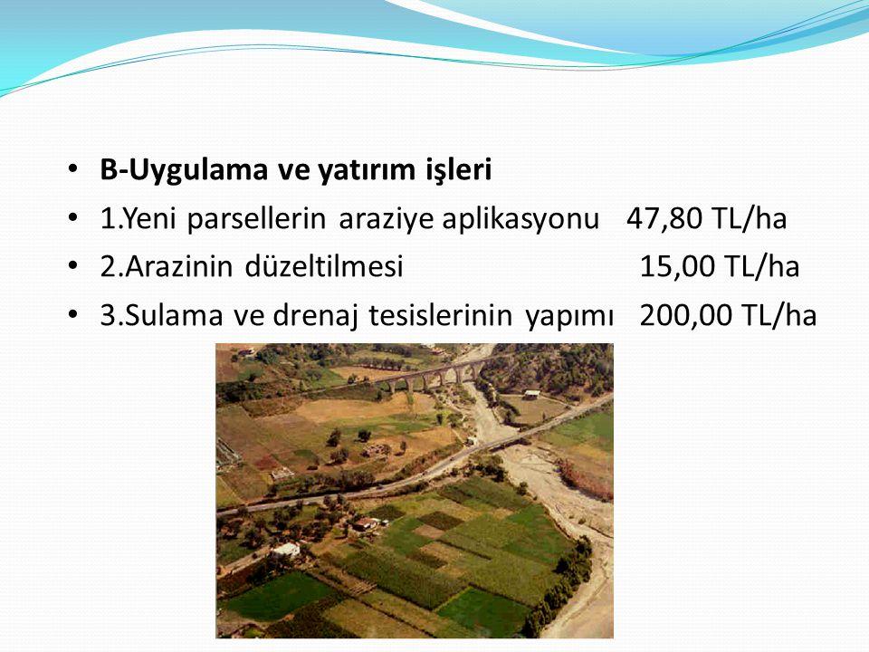 B-Uygulama ve yatırım işleri 1.Yeni parsellerin araziye aplikasyonu 47,80 TL/ha 2.Arazinin düzeltilmesi 15,00 TL/ha 3.Sulama ve drenaj tesislerinin ya