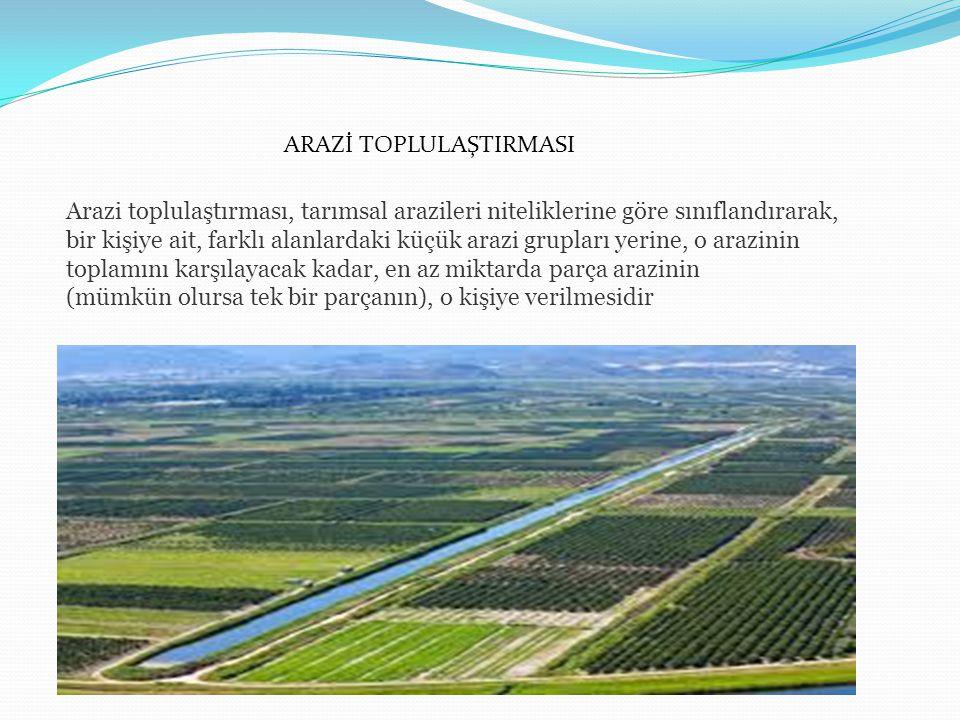 B-Uygulama ve yatırım işleri 1.Yeni parsellerin araziye aplikasyonu 47,80 TL/ha 2.Arazinin düzeltilmesi 15,00 TL/ha 3.Sulama ve drenaj tesislerinin yapımı 200,00 TL/ha