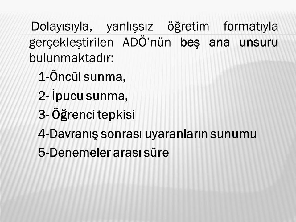 Dolayısıyla, yanlışsız öğretim formatıyla gerçekleştirilen ADÖ'nün beş ana unsuru bulunmaktadır: 1-Öncül sunma, 2- İpucu sunma, 3- Öğrenci tepkisi 4-D