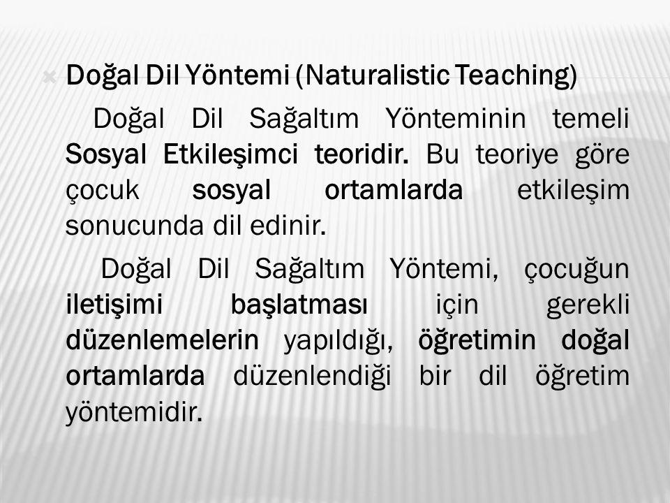  Doğal Dil Yöntemi (Naturalistic Teaching) Doğal Dil Sağaltım Yönteminin temeli Sosyal Etkileşimci teoridir. Bu teoriye göre çocuk sosyal ortamlarda