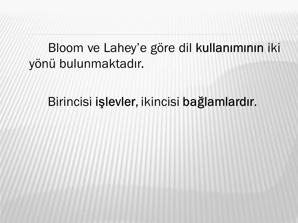 Bloom ve Lahey'e göre dil kullanımının iki yönü bulunmaktadır. Birincisi işlevler, ikincisi bağlamlardır.