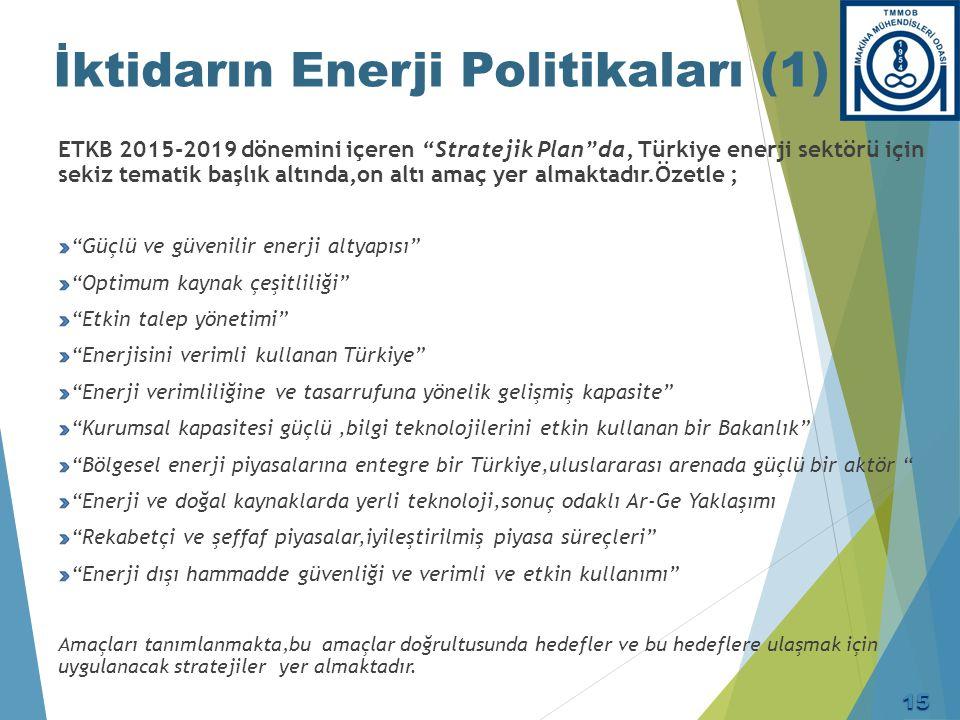 """İktidarın Enerji Politikaları (1) ETKB 2015-2019 dönemini içeren """"Stratejik Plan""""da, Türkiye enerji sektörü için sekiz tematik başlık altında,on altı"""